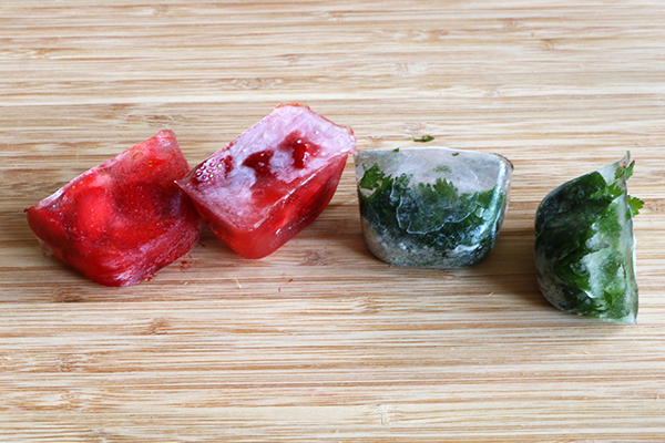 Fruit and herb infused water ice cubes