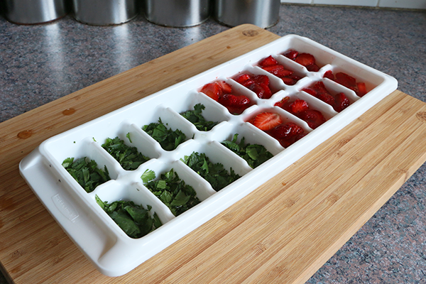 Making infused water ice cubes!